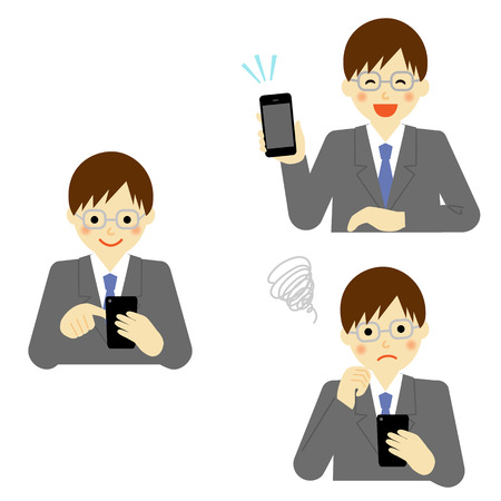 smart phone: Business man using smart phone