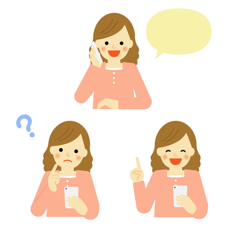 young girl talking on mobile smart phone Illustration