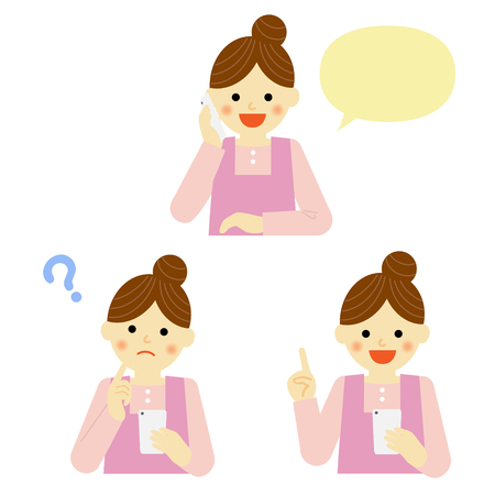 smart woman: woman talking on mobile smart phone Illustration