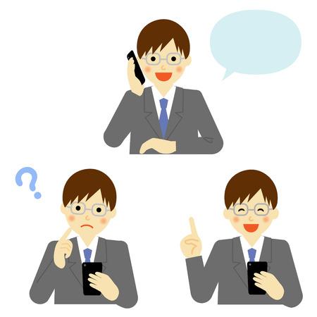 smart man: business man talking on mobile smart phone Illustration