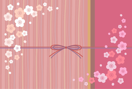 newyear card: Japanese apricot and pink background Illustration