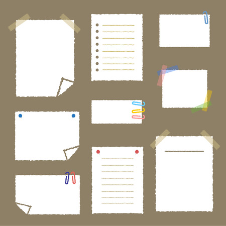 Collection of white note papers Illustration