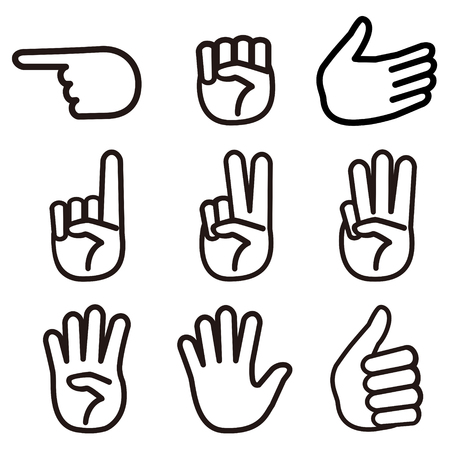 scissors: Set of  monochrome hand sign.