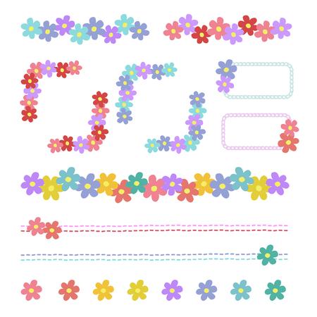 corolla: Set of flower frame. Illustration
