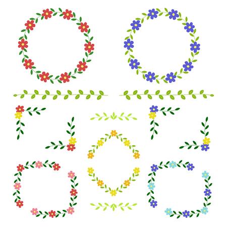 corolla: Set of flower frame Illustration