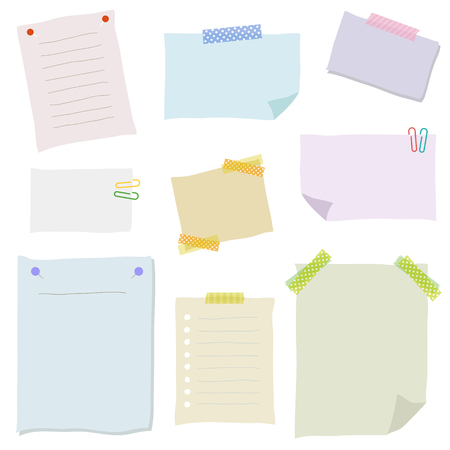note board: Collection of colorful note papers Illustration