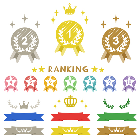 Ranking medal hand drawn icons Illustration