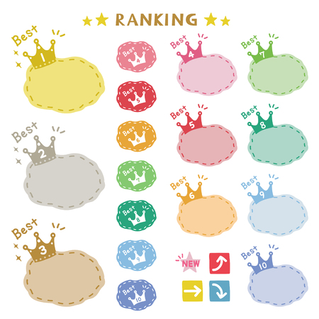 Set of crown ranking icons