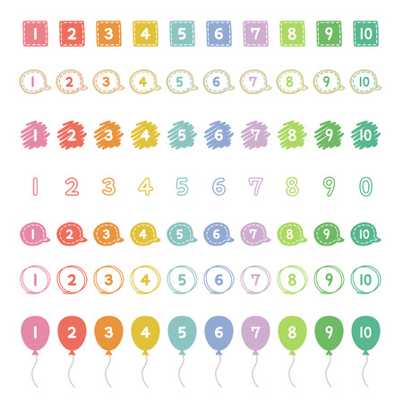 pastel color number, hand-drawn icons