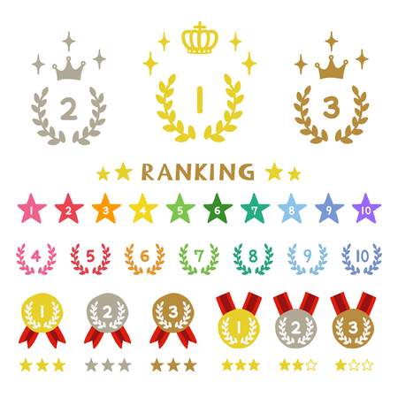 Ranking laurel, hand-drawn icons