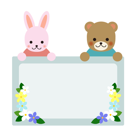 visiting card: Rabbit and bear holding sign board
