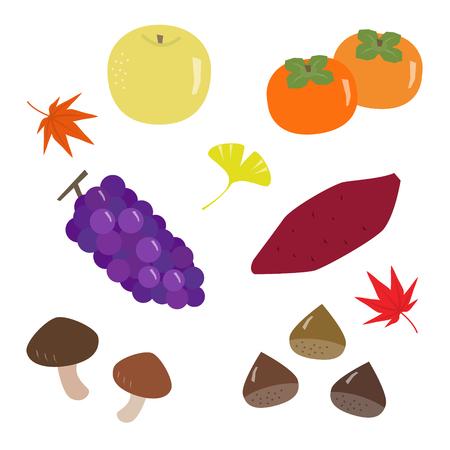 Set van herfstvoedsel en bladeren