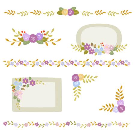 Set of autumn flower frame