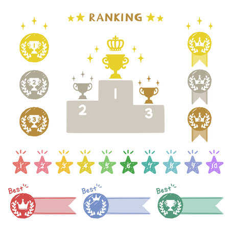 Ranking collection and prize podium vector illustration.