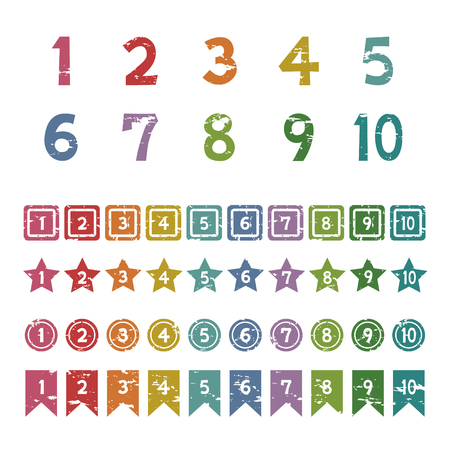 Set of number stamp icons.