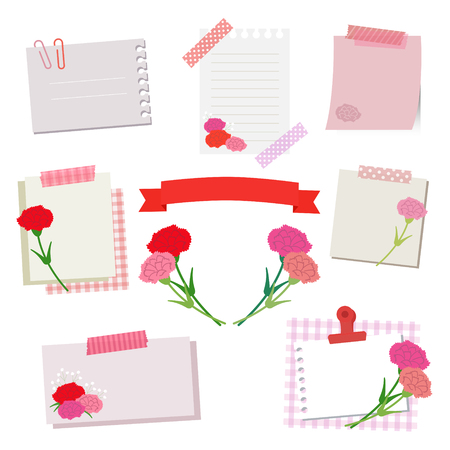set of white and pink paper with carnetion