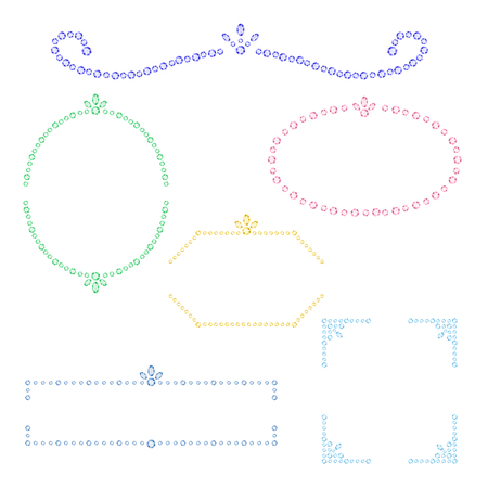 set of rhinestone frames  イラスト・ベクター素材