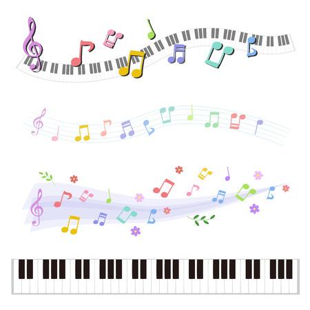 Set of music notes and Piano keyboard Ilustração