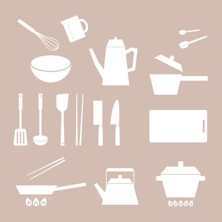 set of cooking tool silhouette 向量圖像