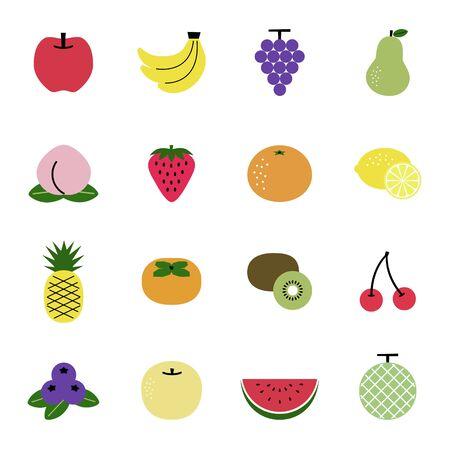 Set of fruit icons Illustration