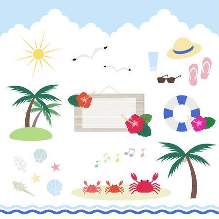 Set of summer beach items