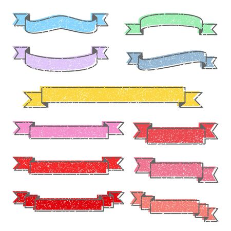 Set of colorful stamp ribbons