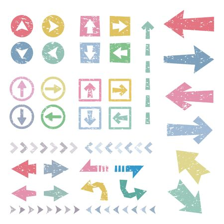 Set of colorful stamp arrows