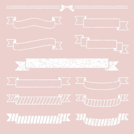 Set of ribbons, white stamp style