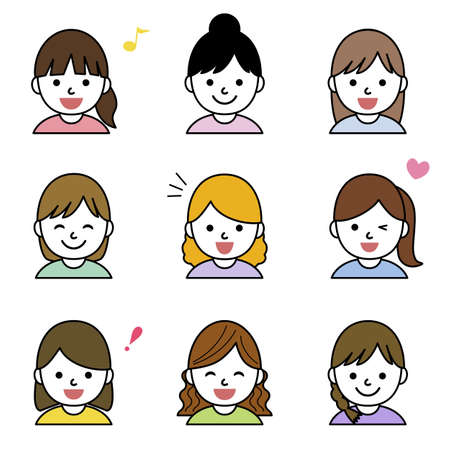 Set of young girls icons