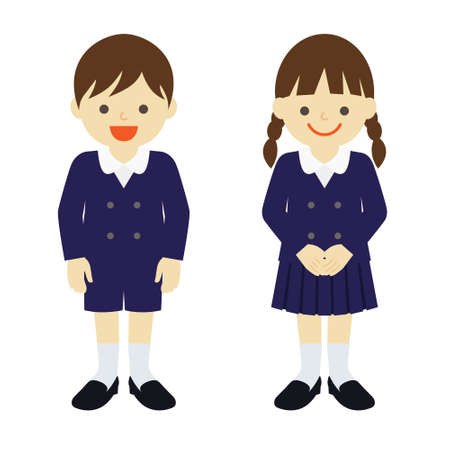 uniformed elementary boy and girl