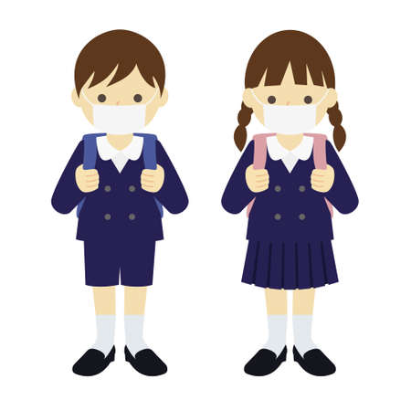 uniformed elementary boy and girl, wearing mask