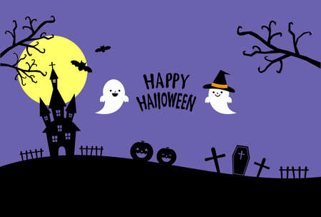 Halloween greeting card with cute ghost and dark castle