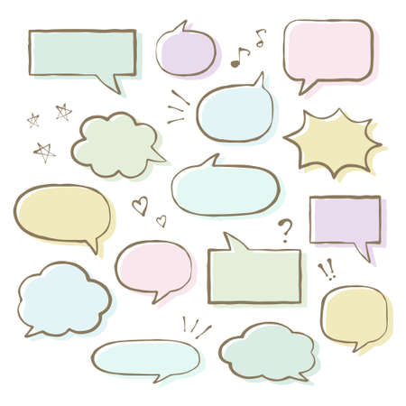 Set of colorful speech bubbles