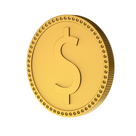 Coin with sign of dollar  3d render XL