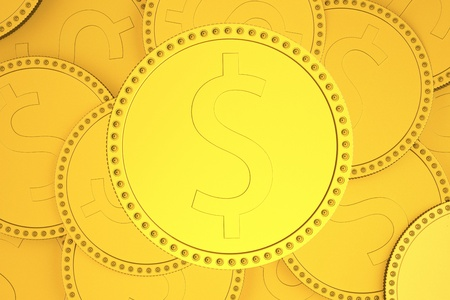 Coin with sign of dollar over background with lots of coins  3d render XL photo