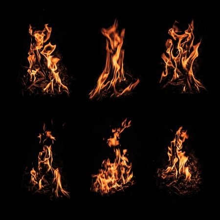 Set of fire flame isolated on black  Good for digital manipulating photo