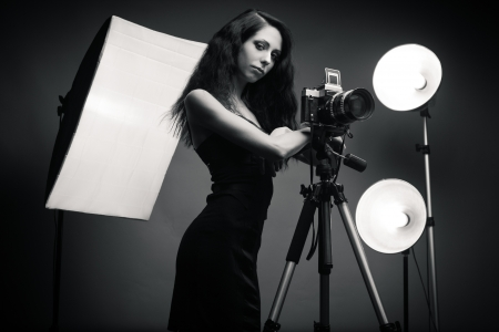Elegant photographer  Black and white photo