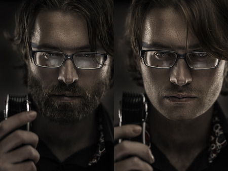 Mid-aged man before and after shaving. Shallow depth of field