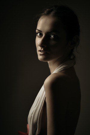 Artistic emotional portrait of gorgeous young brunette. Shallow depth of field