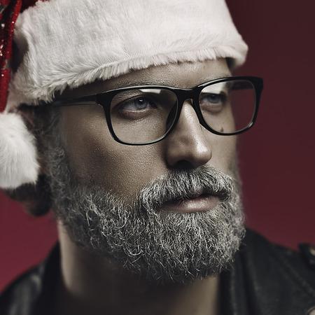 gray haired: Artistic portrait of gray haired santa claus. Bad santa fantasy