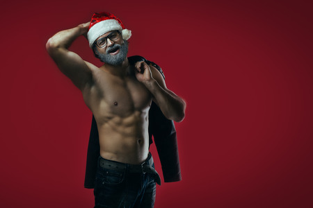 gray haired: Artistic portrait of gray haired santa claus Stock Photo