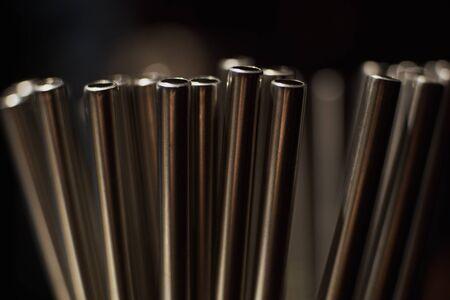Metall straws in bar Archivio Fotografico
