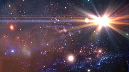 Planetas y galaxias, cosmos, cosmología física, papel tapiz de ciencia ficción. Belleza del espacio profundo. Foto de archivo