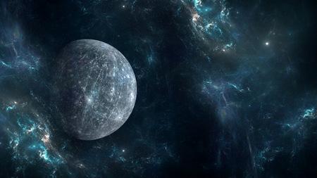 Planets and galaxy, cosmos, physical cosmology, science fiction wallpaper. Beauty of deep space.