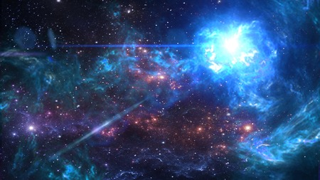 Planets and galaxy, cosmos,  physical cosmology, science fiction wallpaper. Beauty of deep space. Banco de Imagens