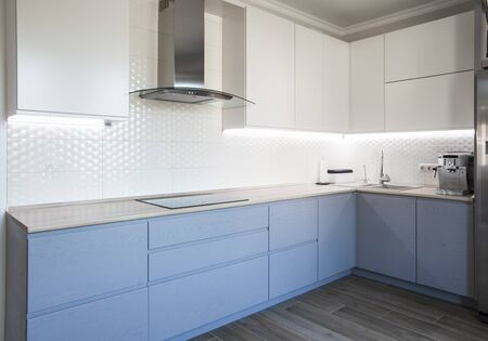Blue and white cabinets in modern kitchen interior Imagens