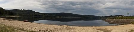 lipno: Lipno river dam and sandy beach
