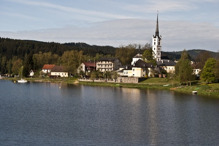 lipno: small town Frymburk with Lipno river dam