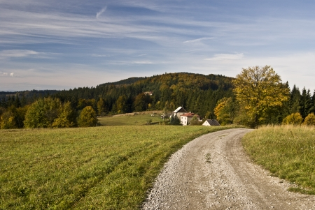 hamlets: path, hamlets, hills, blue sky - ideal combination for relax in mountains