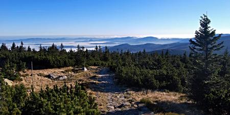 krkonose: autumn morning panorama in Krkonose mountains near Divci kameny hill Stock Photo